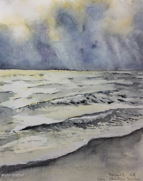 "Martin Walther: ""Horizont 7: Ostia - abendliche Brandung"" (24 x 30 cm, ohne Rahmung)"
