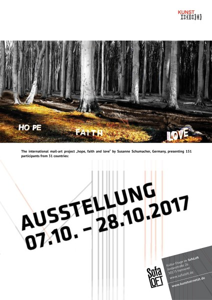 "Mail Art Ausstellung ""hope, faith and love"" von Susanne Schumacher"