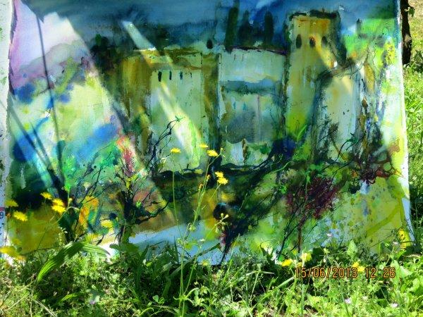 Rita Dahlem: Cetona, Aquarell in der Natur, 2013